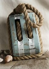 NEW~Large Wood & Rope Block & Tackle Decor Pulley Nautical Coastal Marine