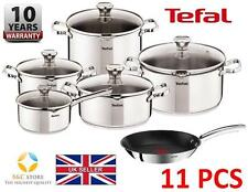 #New KITCHEN TEFAL DUETTO STAINLESS STEEL COOKWARE SET 11 PCS LID POTS 28 cm PAN