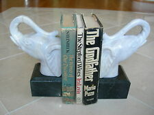 """Maitland Smith Pr Golden White Marble Elephant Head """"Trunk Up"""" Bookends"""