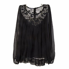 Ladies Lagenlook Italian Gorgeous Black Silk Chiffon & Lace One SizeTunic/Blouse