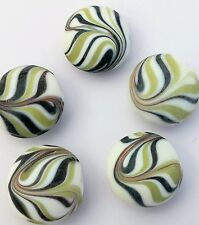 20 Black, white and green puffy disk Indian lampwork beads. 18mm. UK seller