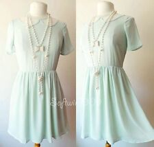 Forever 21 Light Mint Green Floral Lace Inset Peter Pan Collar Skater Dress - S
