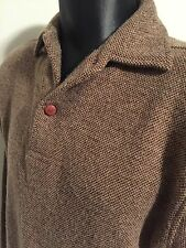 Men's Henry Cottons Size Small S 2 Button Collared Sweater Soft Brown/Tan