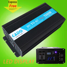 Power Inverter 1500W Pure Sine Wave Solar Inverter 12/24V DC to 120/220V AC LED