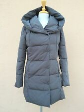 Cole Haan Signature Down Coat Puffer Warm Zip Hood gunmetal Grey L $280