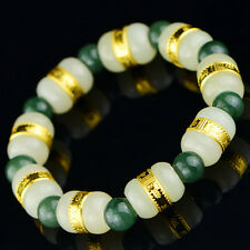 New Natural Hetian Jade with Oil-Green Jadeite beads Bracelet 16cm L