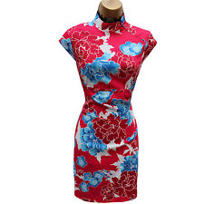 KAREN MILLEN Red Blue Satin Chinese Oriental Floral Cocktail Wiggle Dress 10 UK