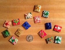 DOLL HOUSE MINIATURE WRAPPED CHRISTMAS GIFT BOXES -- Lot of 5 -- 3/4""