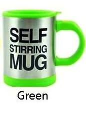 Self Stirring Frothing Mug Cup W/ Lid Battery Operated (Green)