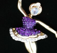 GOLD SILVER PURPLE RHINESTONE BALLERINA DANCE BALLET TUTU TAP PIN BROOCH JEWELRY
