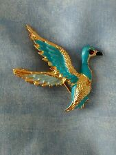 VINTAGE FLYING BIRD BROOCH GOLD TONE AND BLUE /TURQUOISE ENAMEL VGC
