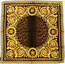 "VERSACE gold Baroque CROWNS brown LEO Spots 35""-square Silk scarf NWT Authentic!"
