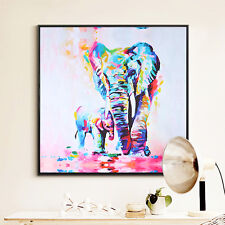 Watercolor Elephant Oil Colorful Modern Abstract Art Painting Wall Decor 60*60cm