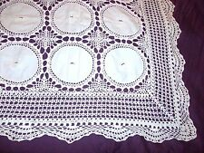 Antique French 34In Handmade Crochet Lace Inserts Floral Embroidery Table Runner