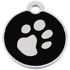 address tag with engraving - round small - with Paw silver Dog trailers Pendant