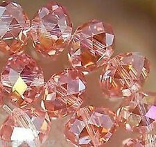 140 Pcs Pink AB Crystal Glass Faceted Rondelle Loose Beads 8X6mm