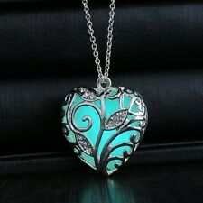 Glowing Blue Tree Of Life Silver Heart Glow In The Dark Womens Pendant Necklace
