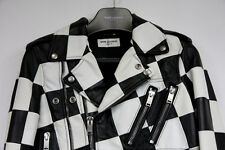 Saint Laurent Paris Black White Checker Damier Biker Leather Jacket Hedi Slimane