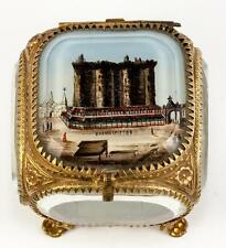 Antique French Eglomise Grand Tour Souvenir Jewelry Box, Casket: BASTILLE View