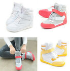 Womens Girls Lace Up Sports Shoes Boots Velcro High Top Hidden Wedge Sneakers Sz