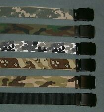 "Military Canvas Camo Web Belt w/ Black Buckle 44"" NEW CHOICE CAMO COLOR"