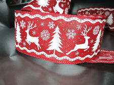 2m Red White Reindeer Stag Christmas Wired Ribbon Cakes Decorations Bows Wreaths