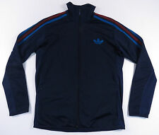 ADIDAS ORIGINALS BLUE & RED 3 STRIPE TREFOIL LOGO ATHLETIC TRACK JACKET VTG L