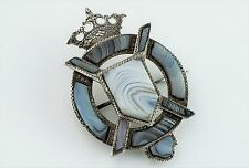 Fine Antique Victorian Silver Scottish Montrose Agate Brooch / Pin