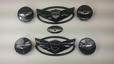 7 PC 2011-2016 Genesis Coupe GLOSS BLACK Wing Emblem + Wheel Caps+S/W emblem
