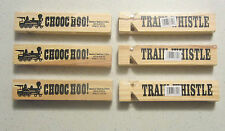 "6 NEW WOODEN TRAIN WHISTLES 5"" WOOD RAILROAD STEAM LOCOMOTIVE WHISTLE CHOO CHOO"