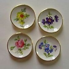 Dollhouse Miniature French Country Floral Plate Set Doll House Furniture