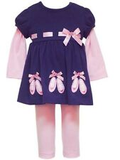 NWT Girl 12M Rare Too RARE EDITIONS Fall Pink Navy BALLET SLIPPER Dress Legging