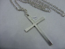"Large Cross (35x60mm) Tibetan Silver Charm Pendant, Long 30"" Chain Necklace Surf"