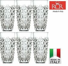 RCR Enigma Hi-Ball Tumbler Cut Crystal Tall Water Juice Glasses 40cl - Set of 6