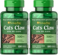 2X Cat's Claw 500 mg x 100 ( 200 ) Capsules Puritan Pride ** AMAZING PRICE **