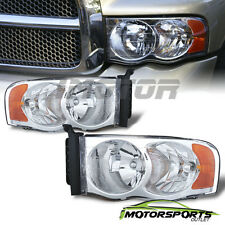 2002 2003 2004 2005 Dodge Ram 1500 2500 3500 Chrome Amber Reflector Headlights