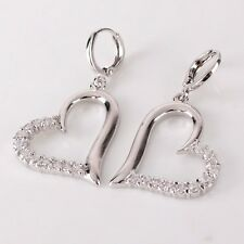 18K white gold filled sweet heart white sapphire charming dangle earring