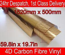4d De Fibra De Carbono Vinilo Wrap película Cromo Oro 500mm (19,7 en) X 1520mm (59,8 en)