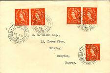 RAILWAY : 1958 E.A.T.P.O.DOWN/PETERBOROUGH SECT  double ring cancels on cover