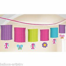 3.65m Sweet Pink Butterfly Girl's Happy 1st Birthday Party Paper Lantern Garland
