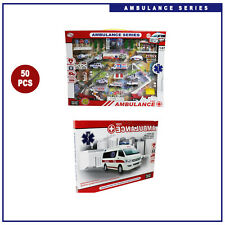50 piezas Conjunto de juguetes para niños Ambulancia Serie Juguetes Coches de fundición Colección Conjunto de Tamaño 1:87