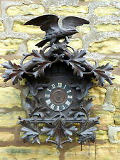 "ANTIQUE BLACK FOREST ""CUCKOO & QUAIL"" CARVED WALNUT CUCKOO CLOCK"