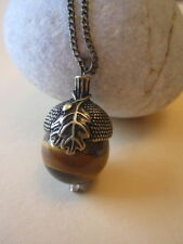 Large 20mm Genuine Tiger Eye Autumnal Acorn Oak Necklace