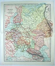 Vintage Original 1895 Map of European Russia in the Czarist Era