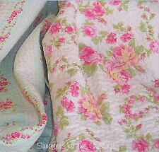 SUMMER COTTAGE SHABBY PINK PEONY ROSES CHIC AQUA QUEEN QUILT PILLOW SHAMS SET