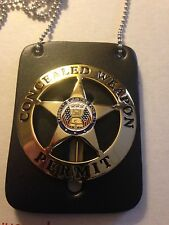 CONCEALED CARRY WEAPONS PERMIT BADGE GOLD W/FREE LEATHER 2ND AMEND. CCW 9MM .45