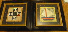 Lot of 2 ~ Americana Patchwork Themed Framed Prints ~ 8.5 x  8.5 ~ Blue Wood