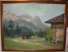 ÖLGEMÄLDE Alpenlandschaft Berge mit Wald, Karl Groß Sattelmair