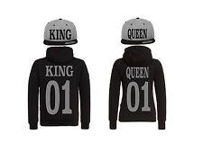 King Queen Cap Hoodie Pullover Partner Look 4er Set Hat Relationship XS - 5XL
