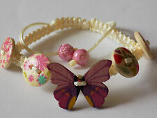 No Metal Cream Multicolored Flowers Butterfly Wooden Buttons Shamballa Bracelet